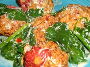 Meatballs and Spinach